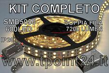 STRISCIA LED DOPPIA FILA SMD5050/600LED BIANCA CALDA  5mt+DIMMER TELEC+ALIMENT