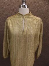 Vtg 1970s Gold Metallic Mandarin Peek-a-boo Slit 3/4 Sleeve Fancy Top XL 46 Bust