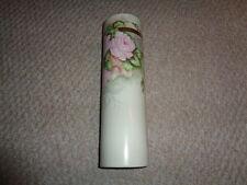 1880 hand painted large cylinder flower vase pink roses green leafs gold stripes