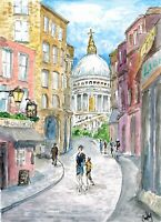 """""""St Paul"""" ORIGINAL signed watercolor painting Europe travel alley cathedral old"""