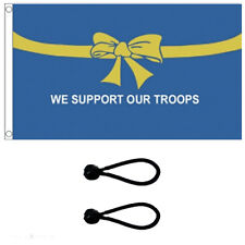 We Support Our Troops Blue Flag 5x3ft. Comes With FREE  BALL TIES