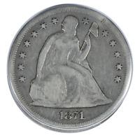 1871 Liberty Seated Dollar Fine