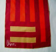 "Vintage Signed Vera Neumann Scarf Silk Rectangle -Burgundy, Red, Camel- 45""x15"""