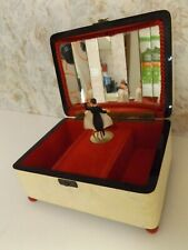 "Vintage Reuge Swiss Jewelry Music Box with Dancing Couple ""Que Sera Sera"""