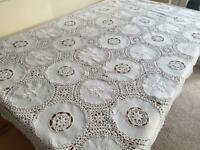 "Vintage square tablecloth - Hand knitted - 100% Cotton 54"" x 54'' 02"