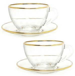 SET OF 2 GOLD GLASS TEA CUPS & SAUCERS, MADE IN RUSSIA