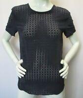 EQUIPMENT FEMME Womens Navy Blue Cut-Out Short Sleeve 100% Silk Top - S