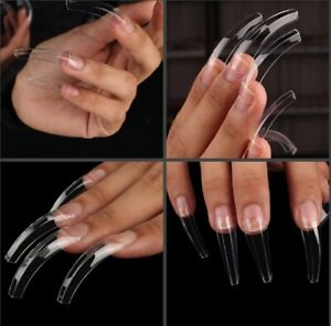 Clear Ridged Nail Tips Extra Long Curved Claw Acrylic Half Well gel art coffin
