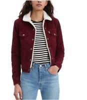 Levis Womens Sherpa Corduroy Trucker Jacket Vintage Shiraz Burgundy 361360030