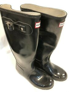 Hunter Original Tall Black Gloss Waterproof Boots Women's Size 7 VG Condition