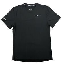 Men's Nike Dri-Fit Stay Cool Running Tee Shirt Black Silver S 849948-010