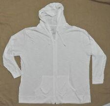 Plus JMS Just My Size 100% Cotton SLUB Hoodie Hooded Zipper Jacket 3X White NEW