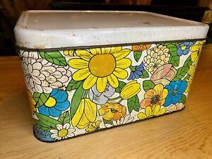Vintage Decoware Metal Tin Bread Box Floral Flowers
