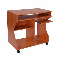 Computer Desk PC Laptop Writing Table Storage Shelf Workstation Wood Cart Wheels