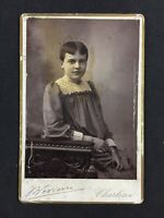 Victorian Cabinet Card Photo: Child/ Young Woman: Bevierer: Charleroi