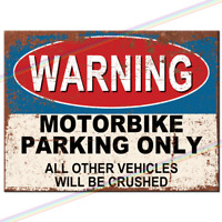Metal Signs - MOTORBIKE PARKING ONLY Retro Wall Plaque Bar Funny Park Tin Sign