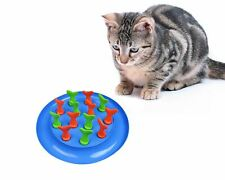 Interactive Cat Kitten Puzzle Toy Slow Feeder Game Fish Blue 31cm Non Slip Base