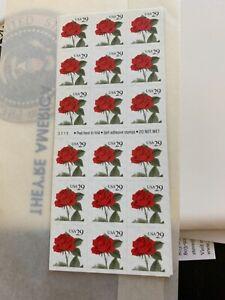 US 1993 29c Red Rose Pane of 18 Stamps Scott #2490a MNH