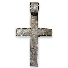Mens 2.15 CT Round Cut Genuine Diamond Cross Pendant Charm Sterling Silver 3.5""