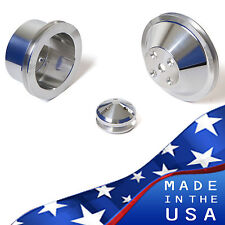 Billet Aluminum Pulley Kit Chevy Small Block V-Belt 350 LWP SBC Alternator 327