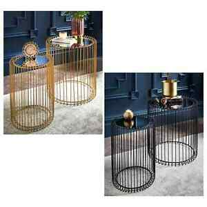 Set Of 2 Round Cage Table With Mirror Top Coffee Table Side Table Living Room