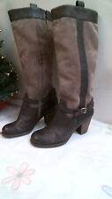 NATURALIZER Fashion BOOTS size 6 1/2 M BROWN LEATHER & SUEDE HEELS