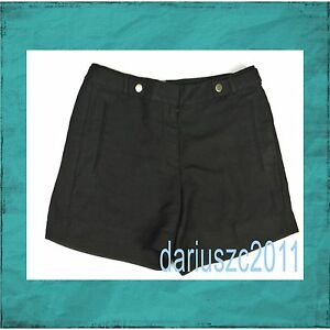 "white house black market women's 5"" size 4 linen black shorts"