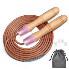 Skipping Rope Jumping Wooden Handle Leather Jump Ropes Exercise Fitness 300cm