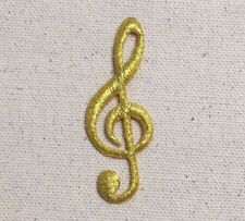Gold - Treble G Clef Note/Cleft - Musical - Iron on Applique/Embroidered Patch