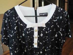 Karl Lagerfeld Paris women's dress navy white trim silver buttons size 14