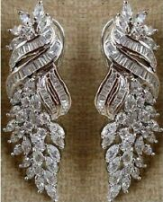 925 Sterling Silver White Baguette Marquise Highend Solid Handmade CZ Earrings