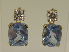 New 9ct Solid Yellow Gold, Large Rectangular Blue Topaz & CZ Stud Drop Earrings