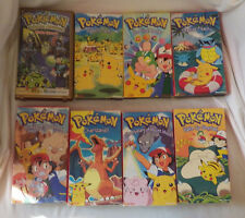 Lot of 8 Pokemon VHS Tapes Videos Charizard Primeape Moon Pikachu Johto Badge