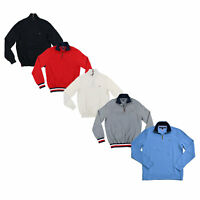 Tommy Hilfiger Mens Sweater Quarter Zip Mock Neck Pullover Outerwear Flag Logo