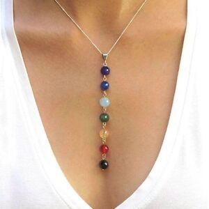 7 Chakra Steine Natur Edelsteine Anhänger Kette Halskette Armband Schmuckset