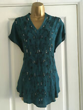 BNWT M&S Per Una Teal Cap Sleeve Beaded Embellished Top Blouse RRP £45