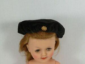 Vintage Black Velveteen Beret for 12 to 15 Inch Doll Shirley Temple Miss Revlon