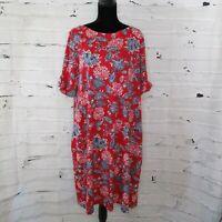 Karen Scott Sport Womens Plus Size 2X Floral Print A-Line Dress Red White Blue