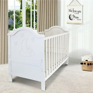 iSafe Baby Cot Bed Toddler Bed Junior CotBed Wendy (White) (Including Mattress)