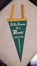 023A Bendix Coaster Brake Bicycle Pennant Sign Green NOS