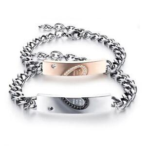 Bracciale braccialetto acciaio incisioni mezzo cuore spezzato regalo pasqua