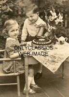 1923 CUTE LITTLE KIDS GIRL & BOY TEA PARTY BIRTHDAY CAKE SURPRISE PHOTO FLOWERS