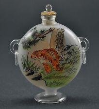 Vintage Chinese Glass Reverse Hand Paint Peking Snuff Bottle  - Big TIGER