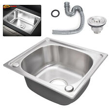 Ultimate Single Bowl Square Stainless Steel Kitchen Laundry Sink Plumbing Waste