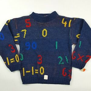 VTG Dr. Denton 80s Youth Size 6 Knit Math School Retro Numbers Sweater Crewneck