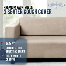 Sherwood Home Premium Faux Suede Couch Sofa Cover 3 Seater (cream) 170x0x276cm