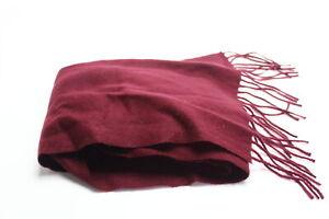 Club Room Men's Burgundy Red Solid Scarf Cashmere Fringe Trim Accessory $120 253