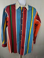 Ralph Lauren Sport Mens Long Sleeve Vertical Stripes Shirt Multicolor Size L