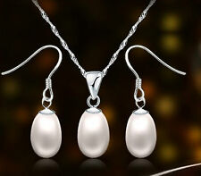 Juego de joyas 925 Plata Con Real Agua Dulce Perlas de cultivo ELEGANTE, regalo,