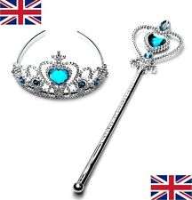 NEW UK SELLER LOVELY Ice SNOW QUEEN PRINCESS GIRLS Party CROWN & MAGIC WAND SET